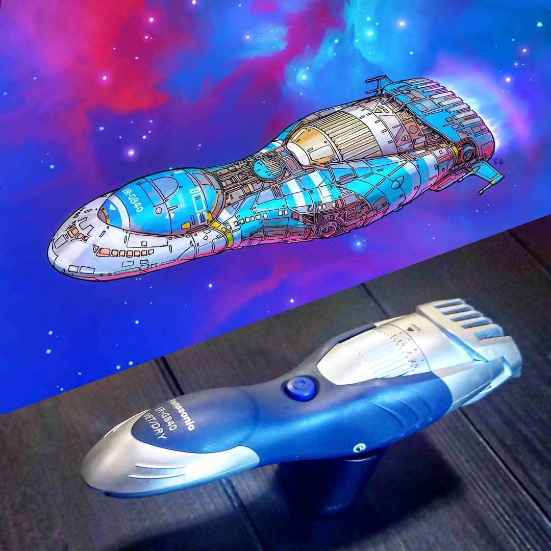 電動シェーバーが宇宙船になったら