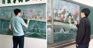 先生は「黒板アート」で生徒の人気者になった