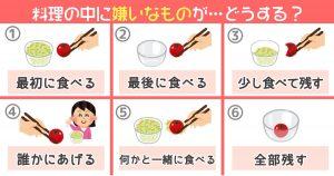 【心理テスト】料理の中に嫌いなものが... さてどうする?
