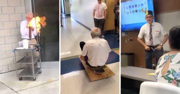 69歳の物理の先生、授業で身体を張りまくって大人気に