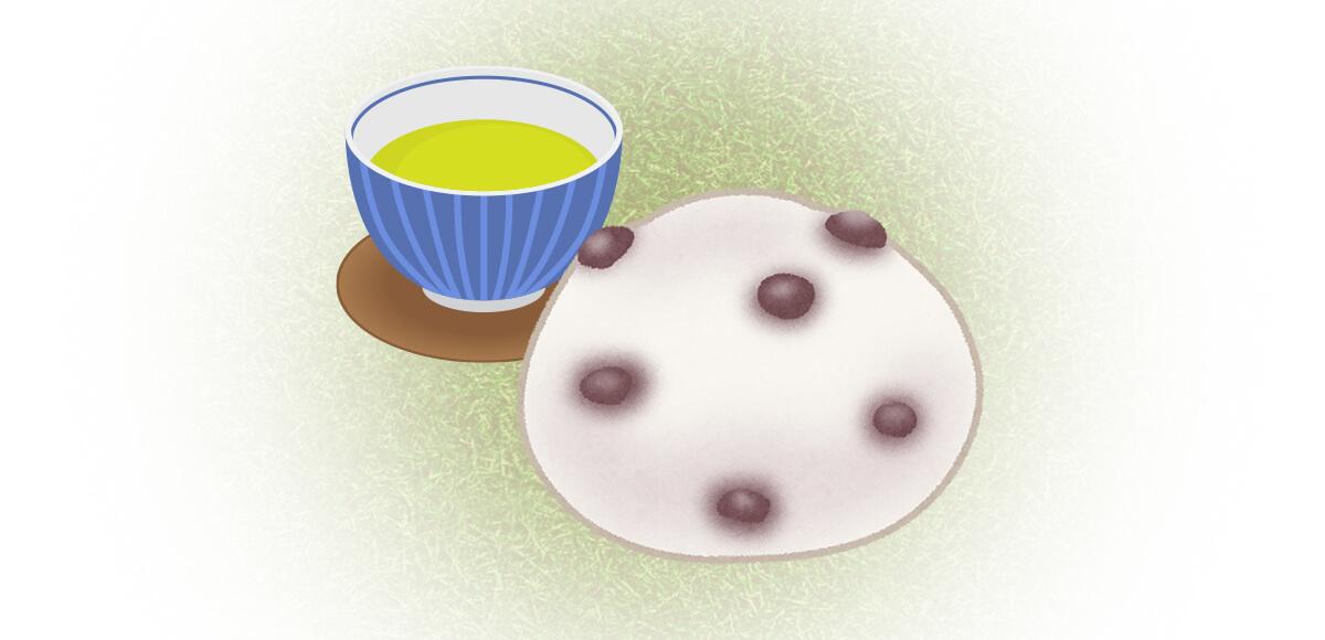 湯呑み お茶 和菓子 心理テスト 豆大福