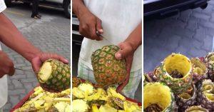 パイナップルを切る職人がスゲェ