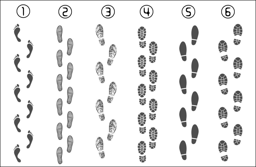 Footsteps track routes. Footprint trail, footstep imprint way route and walking foot steps map pins isolated vector illustration