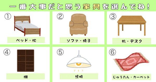 【心理テスト】お金をかけたい家具で、あなたの性格にあった「職種」がわかる