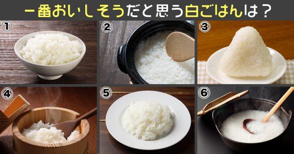 【心理テスト】あなたは好みは「シンプルor派手」食べたい白飯を選んで診断!