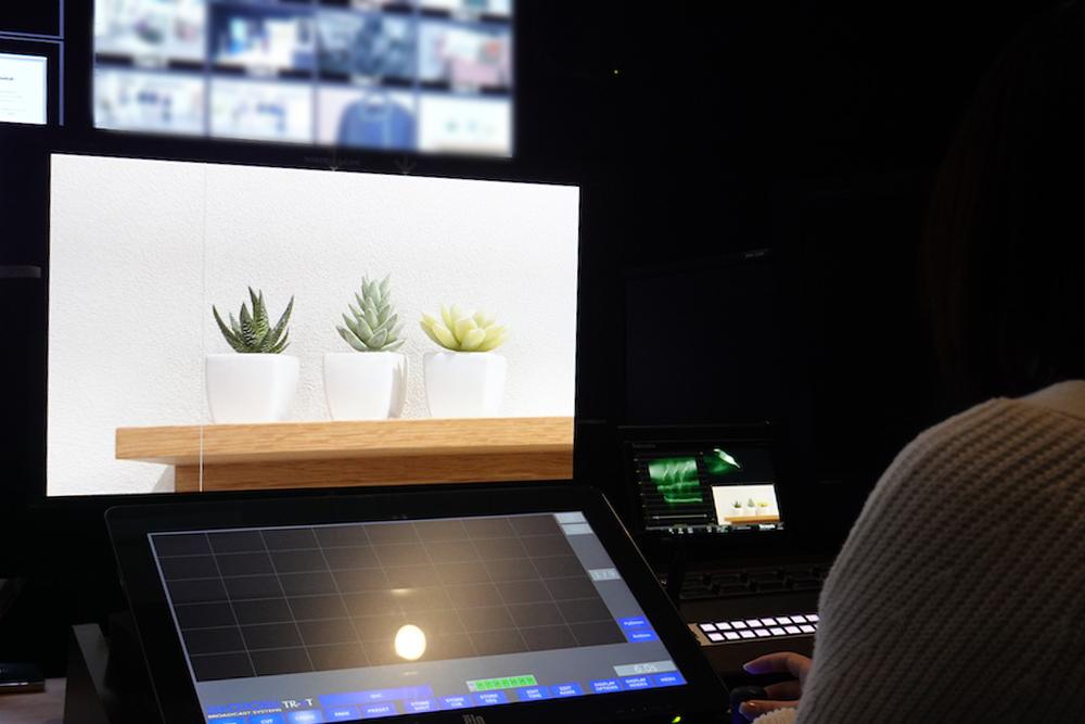 遠隔でカメラを操作し、観葉植物にフォーカス