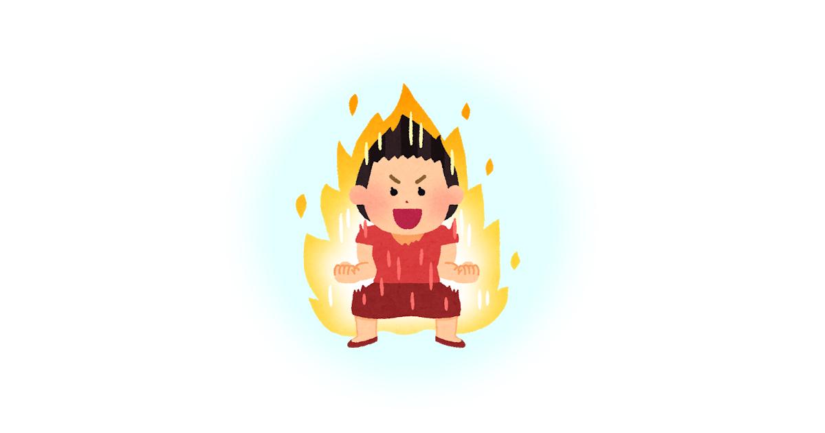 炎をまとって気合をためている女性のイラスト