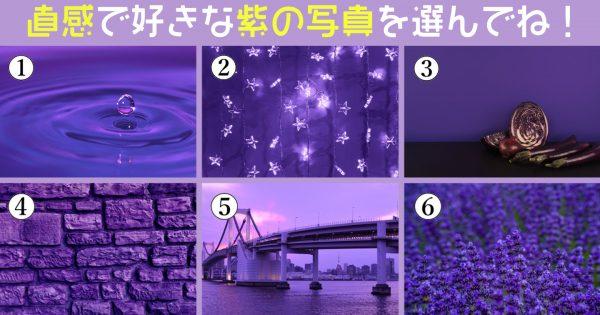 【心理テスト】好みな紫の写真を選んでね!あなたが「密かに尊敬している人」がわかります