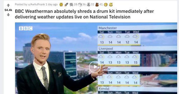 【動画あり】英国お天気キャスターがドラムを叩き始め…BBCの規格外の演出に絶賛の声
