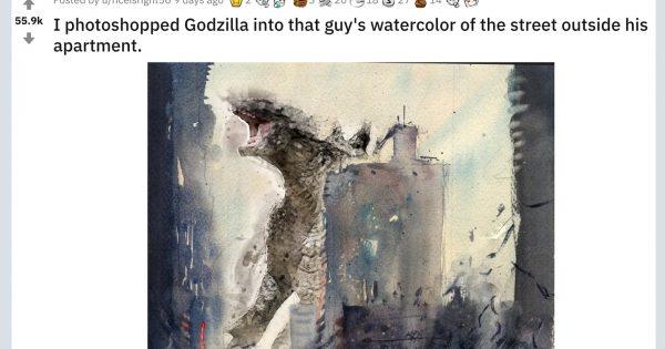 【才能のコラボ】水彩画に「日本が生んだあの怪獣」がフォトショップで追加されてしまう