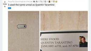 トイレにまさかの表示が…「タランティーノと同じ小便器だ!」ファン喜びの報告