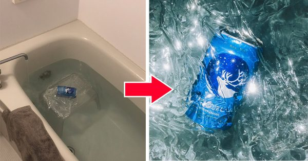 サランラップのポテンシャルに脱帽!「ビール缶の写真の秘密」に14万人が驚いた