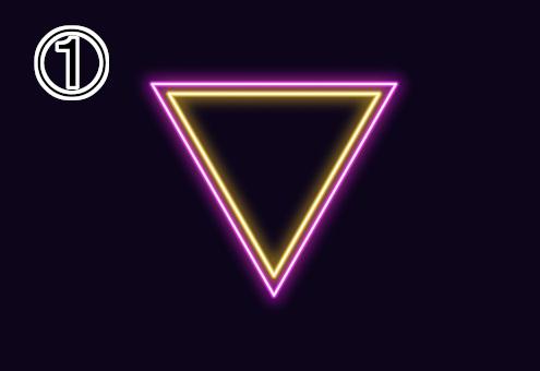 ネオン風の黄色、ピンクの逆三角形