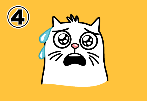 焦っている猫のスタンプ