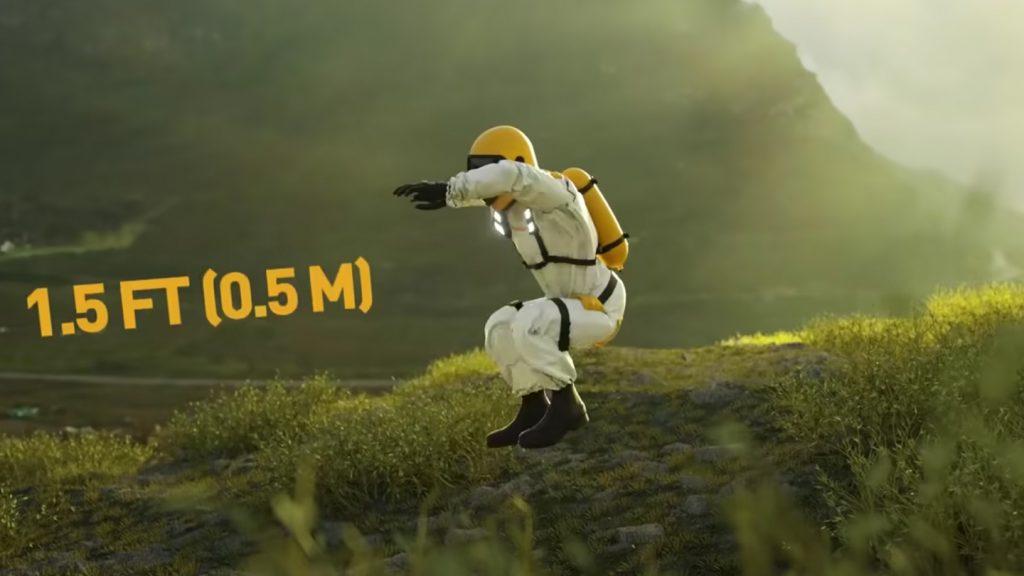 地球で宇宙飛行士がジャンプした時に飛べる高さのYouTubeのキャプチャ