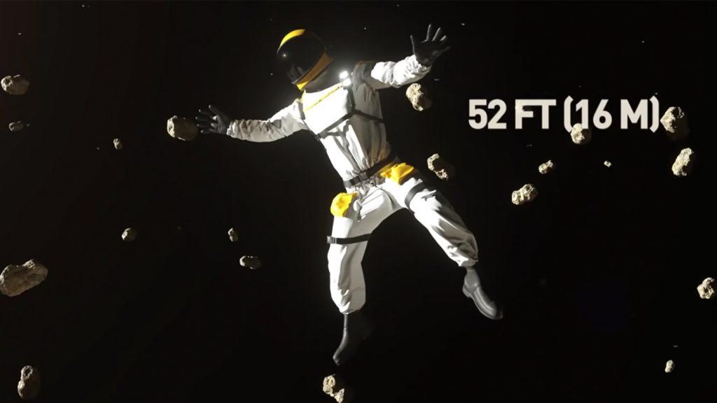 準惑星・ケレスで宇宙飛行士がジャンプした時に飛べる高さのYouTubeのキャプチャ