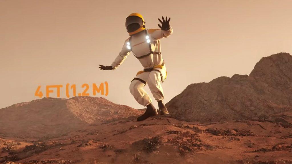 火星で宇宙飛行士がジャンプした時に飛べる高さのYouTubeのキャプチャ