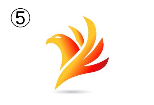 フェニックス風の赤とオレンジのグラデーションシンボル