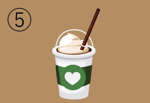 白地に緑のラインが入った、ハートマーク付きののカフェドリンクカップ