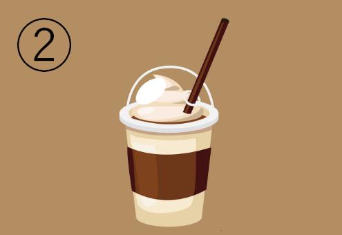 クリーム色地に茶色のラインが入ったカフェドリンクカップ