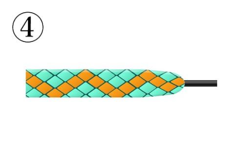 オレンジのダイヤ柄のギザギザ模様が入ったエメラルド色の靴紐