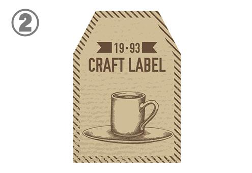 コーヒーカップが描かれた、上2つの角がカットされたラベル