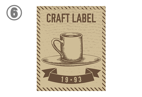コーヒーカップが描かれた、長方形のラベル