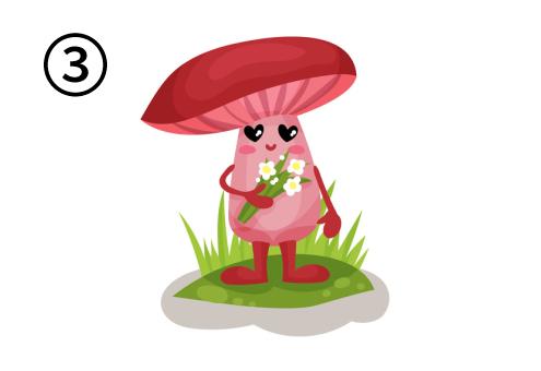 花束を持った、目がハートの赤いキノコ