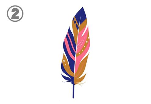 ピンク、青紫、キャメル色の先の尖った羽