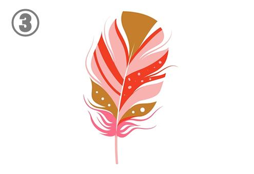 ピンク、赤、キャメル色の楕円形な羽