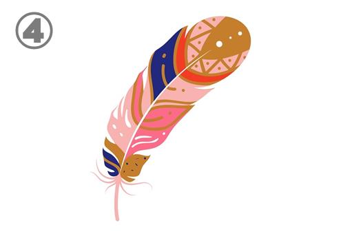 ピンク、青紫、赤、キャメル色の羽