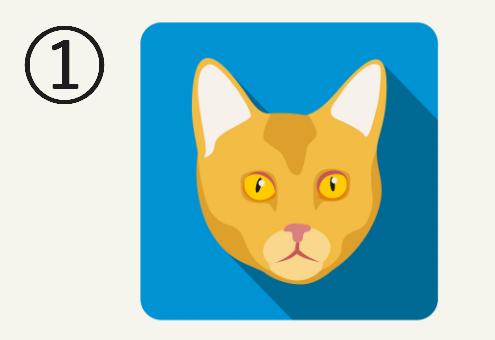 水色の背景に、黄色い目をした黄色い猫