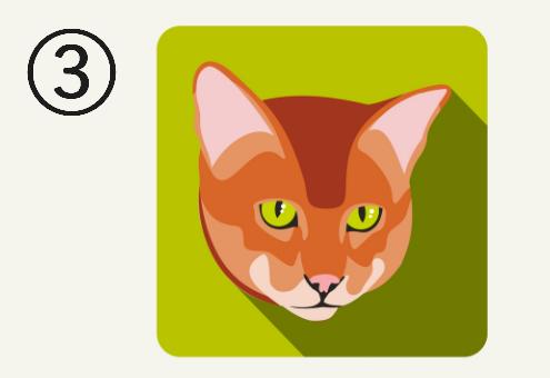 黄緑の背景に、黄色い目をした茶色猫