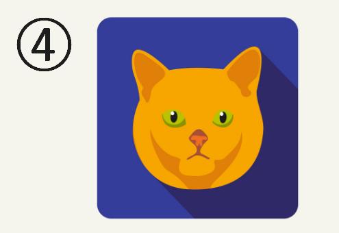 青い背景に、黄緑の目をしたオレンジの猫