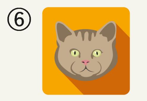 オレンジ背景に、薄めの茶色、目が黄色の猫