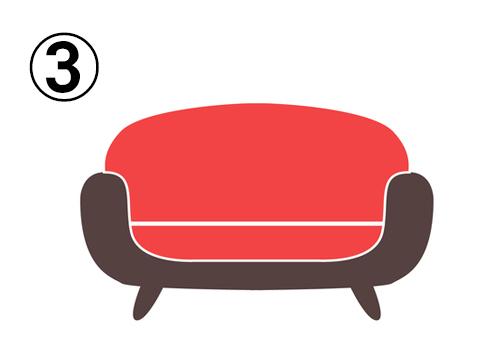 全体的に丸いデザインのソファ