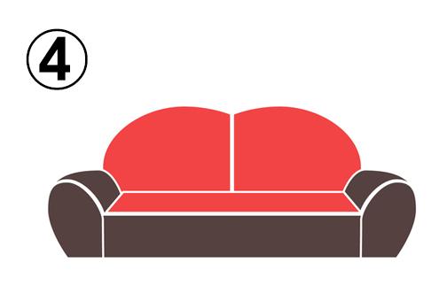 ハートのような背もたれのソファ