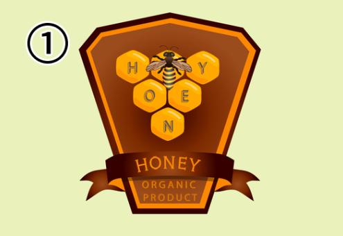 蜂と六角形のデザインが組み合わさったはちみつラベル
