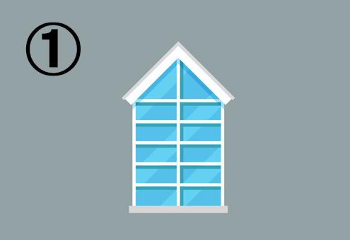 家のような形の窓
