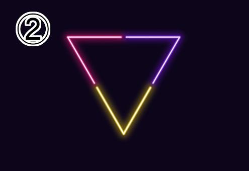 ネオン風の赤、紫、黄色の逆三角形