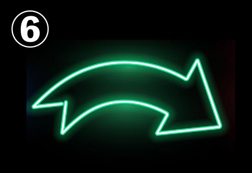 緑ネオンな弧を描く矢印