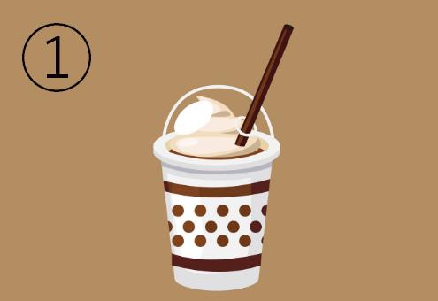 白地に茶色のライン二本、茶色ドットが描かれたカフェドリンクカップ