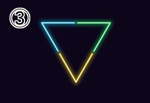 ネオン風の水色、緑、黄色の逆三角形