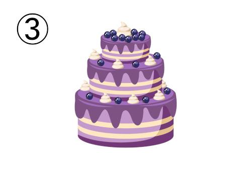 ブルーベリーの三段重ねケーキ