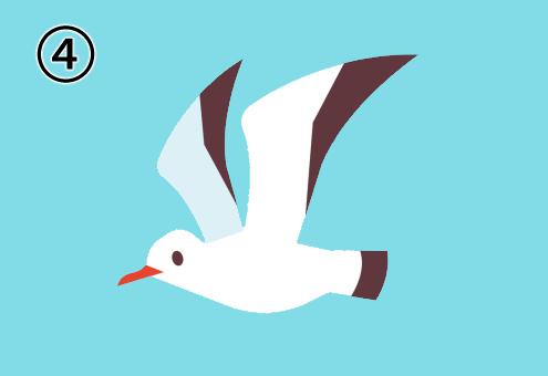 羽を高く上げて左向きに飛ぶカモメ
