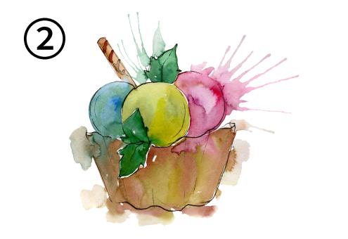 ミントとスティックのお菓子が刺さったピンク、黄色、青のアイス