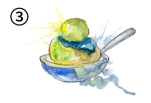青いソースがかかった、黄色、黄緑のアイス