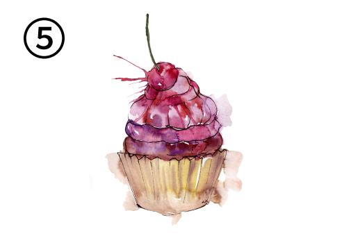 紫とピンクのクリーム、さくらんぼがのった、チョコレートのカップケーキ