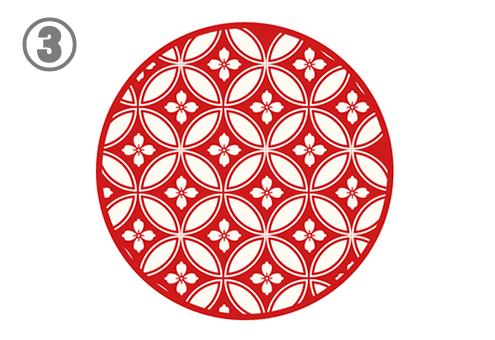 白い七宝つなぎのような柄の赤丸