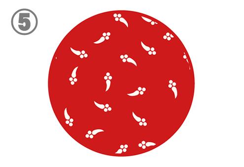 白いメダカのようなシルエットの柄の赤丸